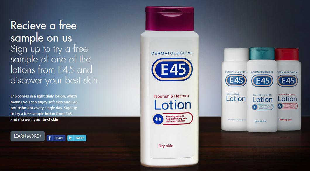 E45 FREE Lotion Sample