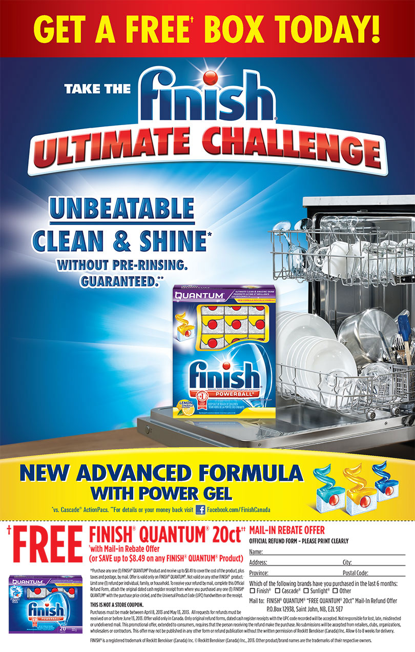 Finish FREE Box of Finish Quantum Mail-In Rebate Offer (Apr 8 - May 13)