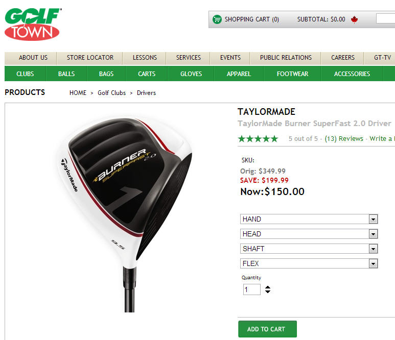 Golf Town $150 for TaylorMade Burner SuperFast 2.0 Driver