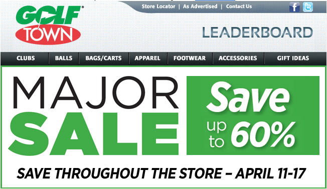 Golf Town Major Sale Save up to 60 Off Throughout the Store (April 11-17)