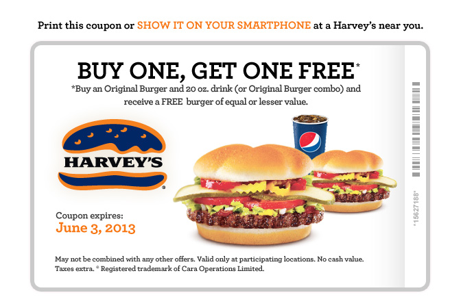 Harveys Lots of New Coupons - BOGO, 2 Can Dine, Meal Deals (Until June 3)