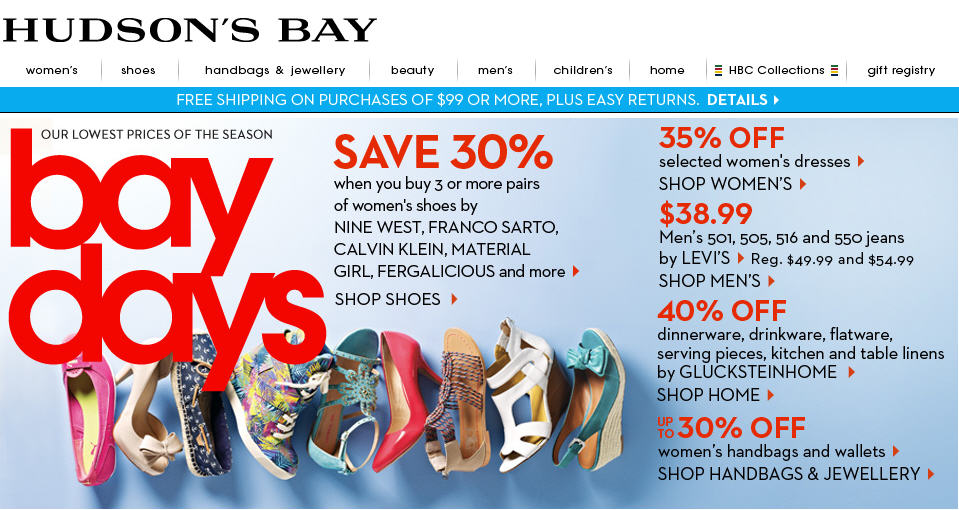 Hudson's Bay Bay Days - Lowest Prices of the Season (Apr 12-18)