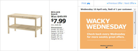 IKEA - Calgary Wacky Wednesday Deal of the Day (April 10) A
