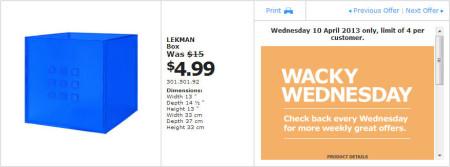 IKEA - Calgary Wacky Wednesday Deal of the Day (April 10) B