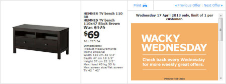 IKEA - Calgary Wacky Wednesday Deal of the Day (April 17) A