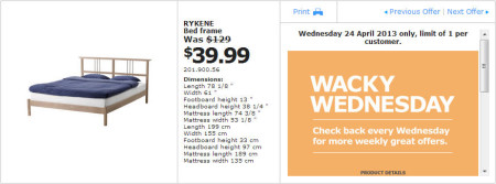 IKEA - Calgary Wacky Wednesday Deal of the Day (April 24) A