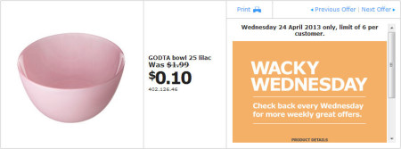 IKEA - Calgary Wacky Wednesday Deal of the Day (April 24) B