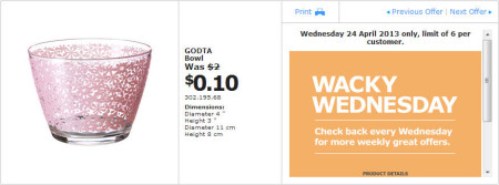 IKEA - Calgary Wacky Wednesday Deal of the Day (April 24) D