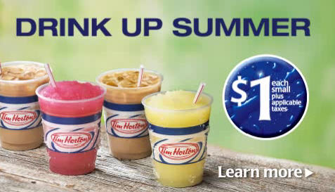 Tim Hortons $1 for Small Iced Coffee, Iced Latte or Frozen Lemonade