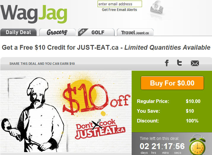 WagJag FREE $10 Credit to Just-Eat