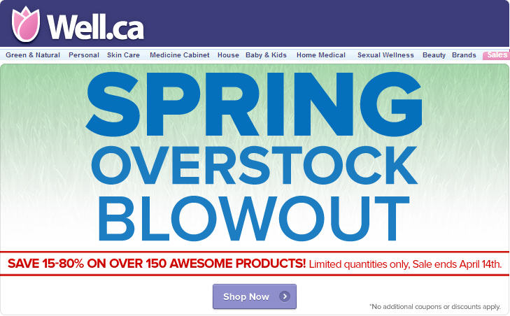Well Spring Overstock Blowout - Save 15-80 Off Over 150 Products (Until Apr 14)