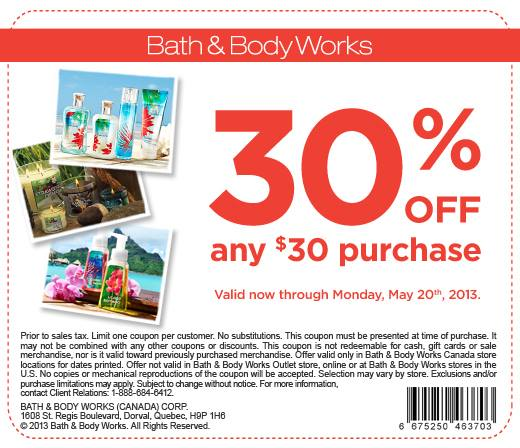Bath & Body Works 30 Off Any $30 Purchase Coupon (Until May 20)