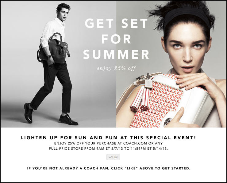 Coach 25 Off Your Purchase Printable Coupon (May 7-14)