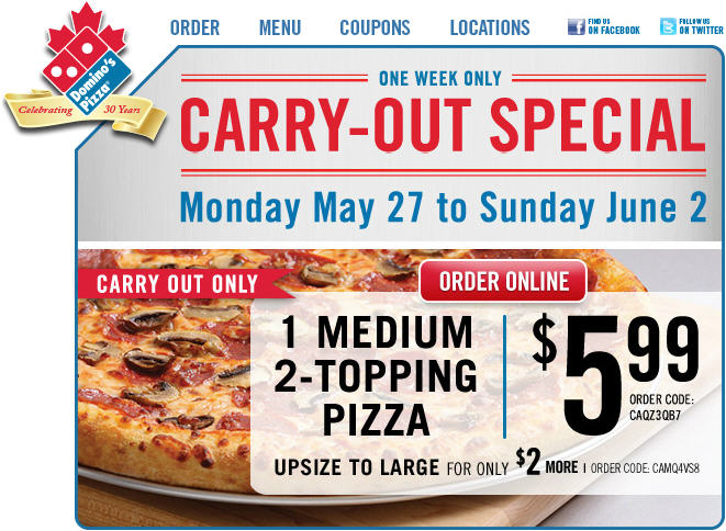 Domino's Pizza Carry-Out Special $5.99 for Medium 2-Topping Pizza or $7.99 for Large (Until June 2)