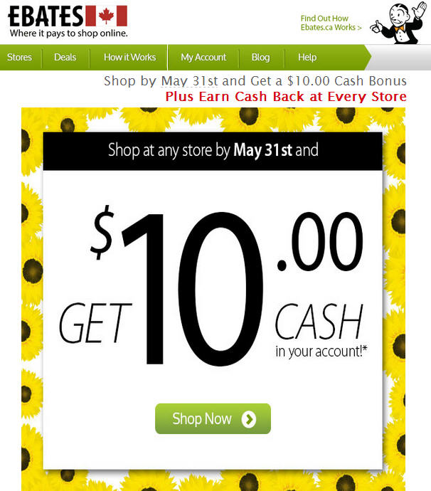 Ebates Get a $10 Cash Back Bonus (Shop By May 31)