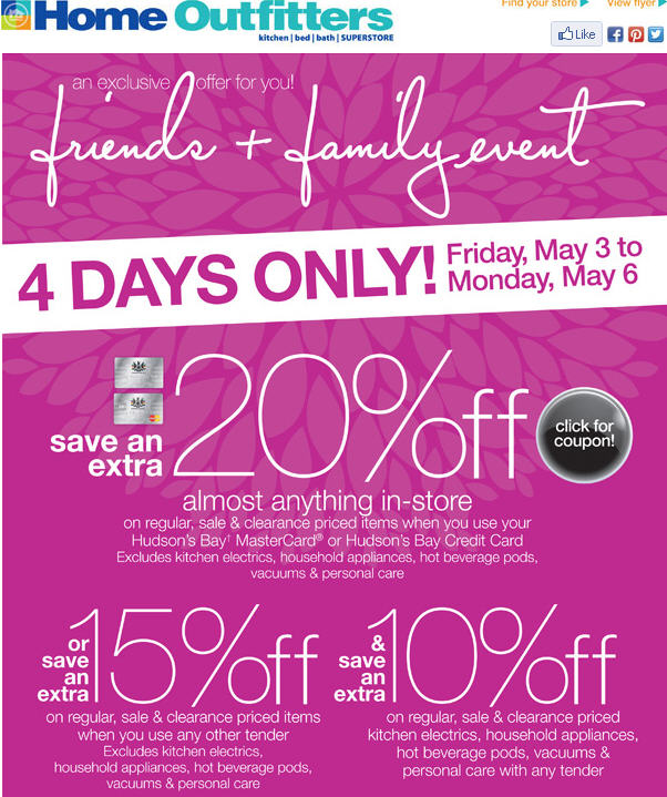 Home Outfitters Friends & Family Event - Save an Extra 15-20 Off Almost Anything In-Store (May3-6)