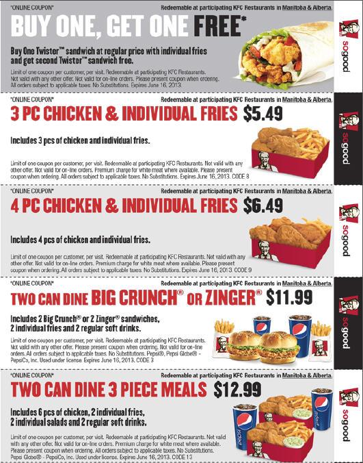 KFC Spring Savings Printable Coupons (Until June 9 or 16)