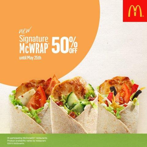 McDonald 50 Off Signature McWraps (May 22-25)
