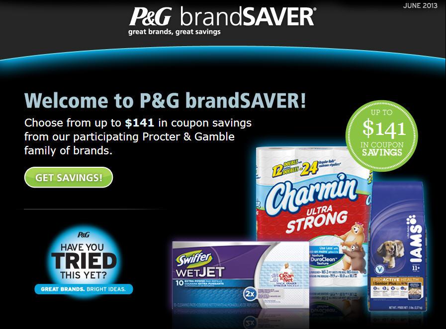 P&G brandSAVER Choose up to $141 Worth of Coupon Savings