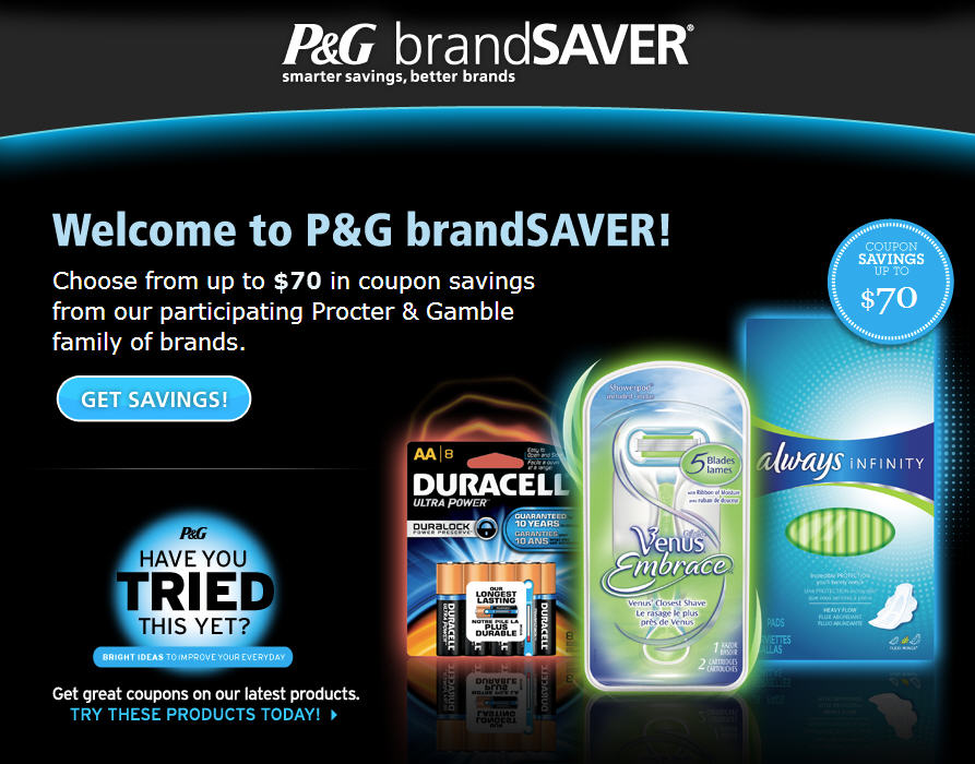 P&G brandSAVER Choose up to $70 Worth of Coupons