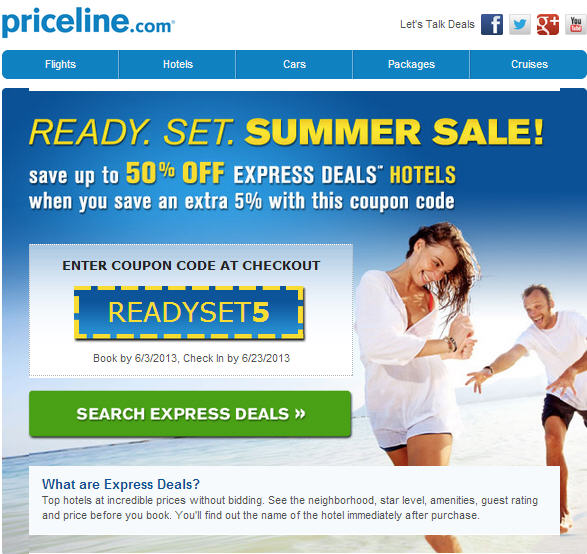 "Priceline is a leading online travel service for value-conscious travelers. Priceline coupons provide travelers with a number of ways to save on flights, hotels, rental cars, vacation packages and cruises – including the invaluable ""Name Your Own Price"" feature, which delivers the lowest prices available on last-minute hotel rooms and flights."