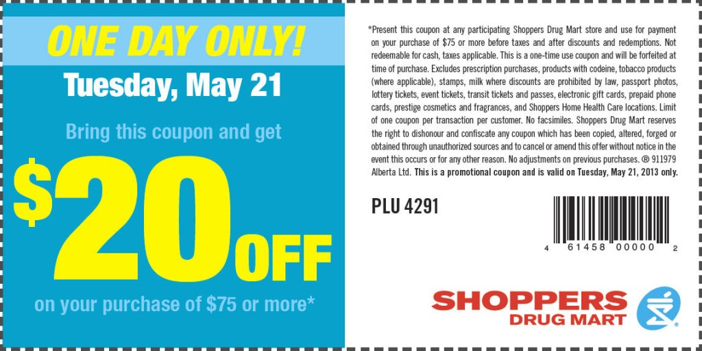 Shoppers Drug Mart $20 Off Coupon on Your Purchase of $75 (May 21)