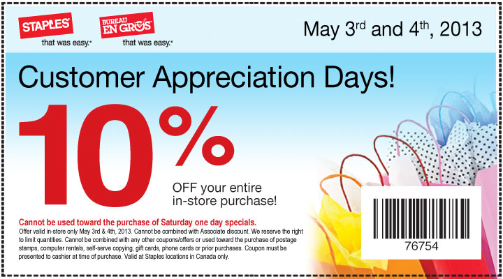 Staples Customer Appreciation Days - 10 Off Your Entire In-Store Purchase (May 3-4)