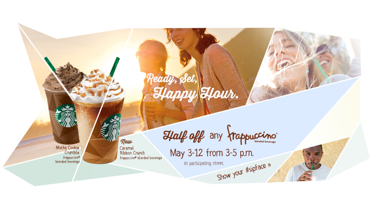 Starbucks Happy Hour - 50 Off Frappuccino from 3-5pm (May 3-12)