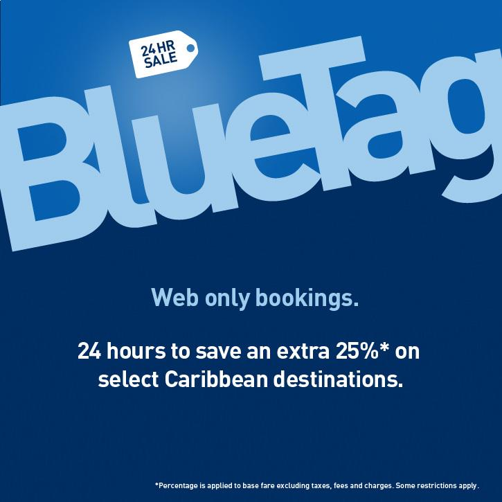 WestJet 24 Hour BlueTag Sale - Extra 25 Off on select Caribbean destinations (Book by May 10)