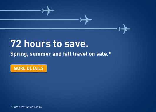 WestJet 72 Hours to Save on Spring, Summer & Fall Travel (Book by May 16)