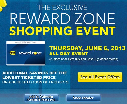 Best Buy Exclusive Reward Zone Shopping Event (June 6)