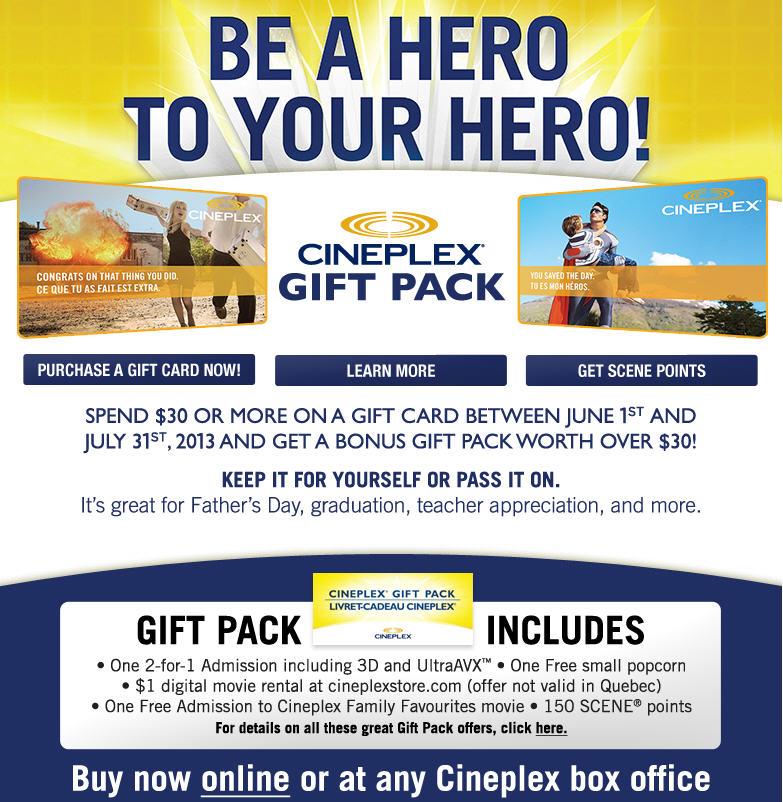 Cineplex Spend $30 on a Gift Card, Get a Bonus Gift Pack Worth $30 (Until July 31)