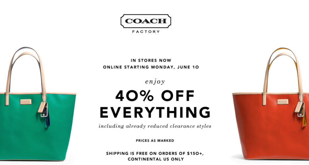 Coach Factory 40 Off Everything In-Stores & Online