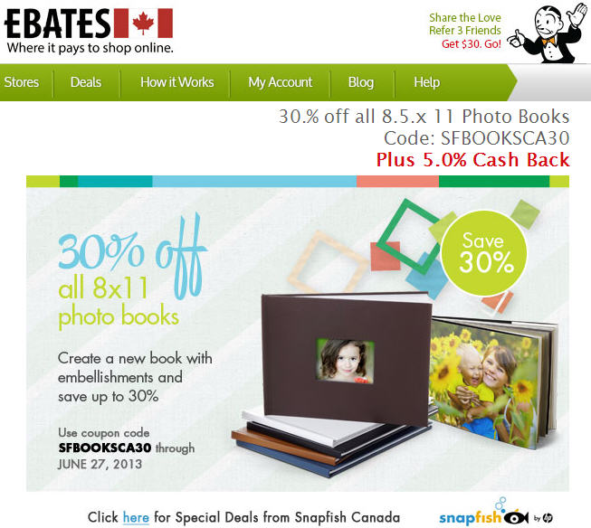 Ebates 30 Off 8x11 Photo Books at Snapfish Canada + 5 Cash Back