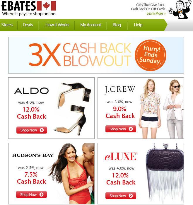 Ebates 3X Cash Back Blowout - Aldo, Hudson's Bay, J Crew, eLuxe