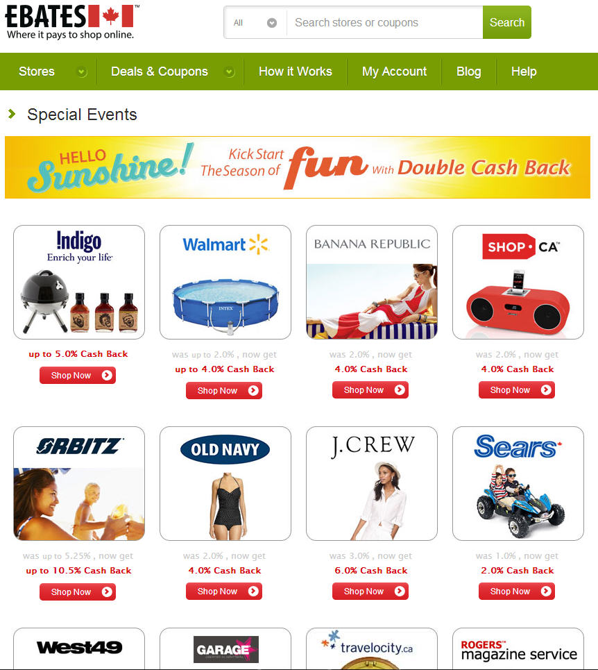 Ebates Get Paid to Shop Online - Double Cash Back Offers