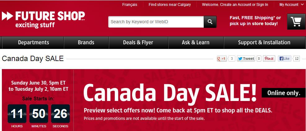 Future Shop Canada Day Online Only Sale (June 30 - July 2)