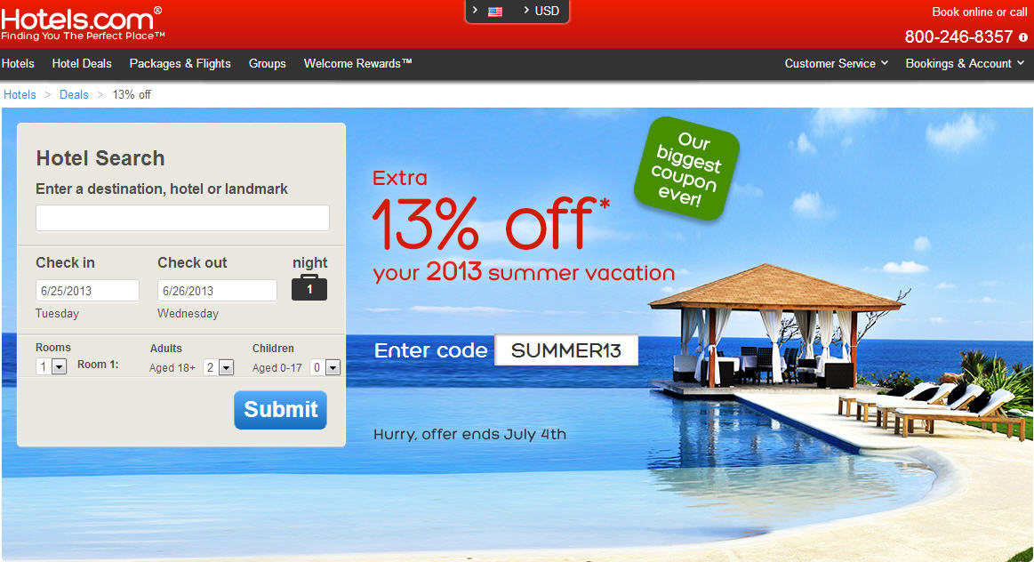 Hotel Biggest Coupon Discount Ever - Extra 13 Off Coupon Code (Book by July 4)
