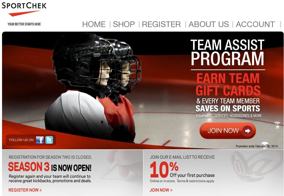 Sport Chek Team Assist Program Season 3 - Lots of FREE Coupons