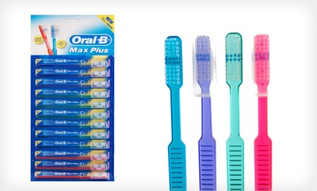 12 Oral-B Toothbrushes with Travel Caps