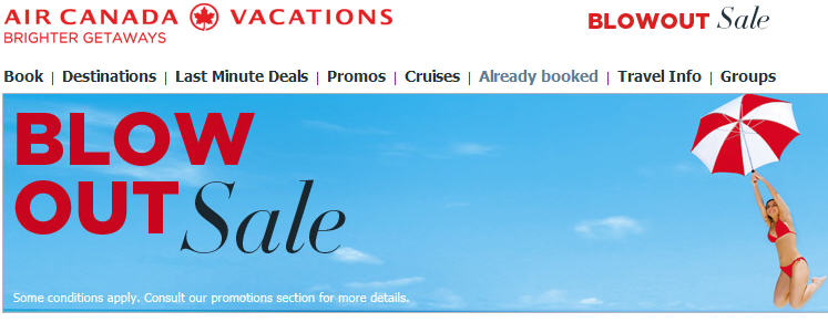Air Canada Vacations Blowout Sale - Great deals for August, September and October