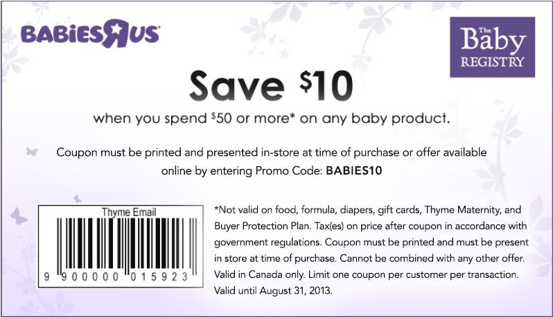Babies R Us Save $10 Off Purchase of $50+ Coupon (Until August 31)