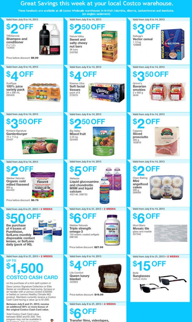 Costco Weekly Handout Instant Savings Coupons WEST (July 8-14)