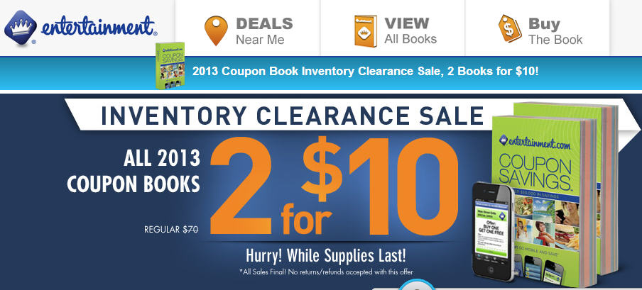 Entertainment All 2013 Coupon Books 2 for $10 Inventory Clearance Sale