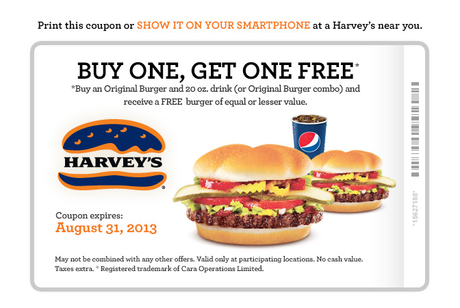 Harvey's Lots of Printable Coupons - BOGO, 2 Can Dine, Meal Deals (Until Aug 31)