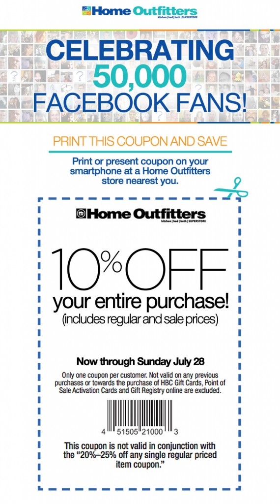 Home Outfitters 10 Off Your Entire Purchase Coupon (Until July 28)
