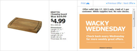 IKEA - Calgary Wacky Wednesday Deal of the Day (July 17) A