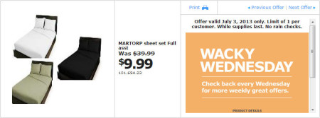 IKEA - Calgary Wacky Wednesday Deal of the Day (July 3) A