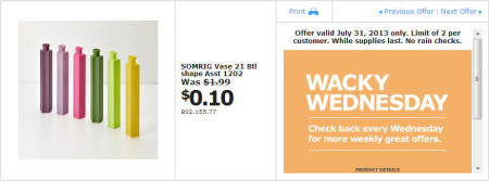 IKEA - Calgary Wacky Wednesday Deal of the Day (July 31) A