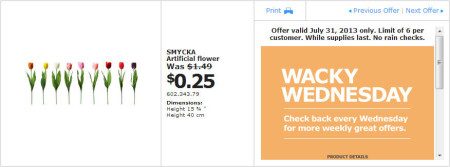 IKEA - Calgary Wacky Wednesday Deal of the Day (July 31) B